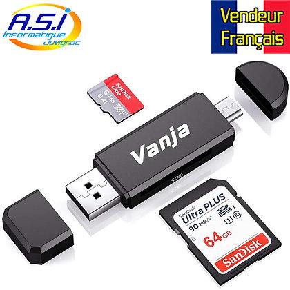 Lecteur de Carte Mémoire, SD/Micro SD Micro USB OTG à USB 2.0