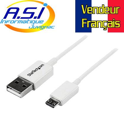 Cable Smartphone Téléphone Tablette Startech USB vers Micro-USB 2 m Blanc