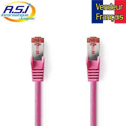 Câble rj45 cat6 rose15m ethernet réseau VENDEUR FRANÇAIS