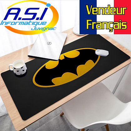 Grand Tapis souris XL Gamer gaming ordinateur Logo Jaune Noir BD  Batman