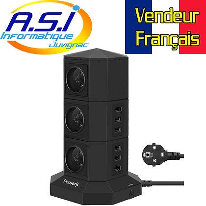 Tour Multiprise électrique Parafoudre 2500w  + 6 USB 5v 2.4A  Noir VENDEUR FR