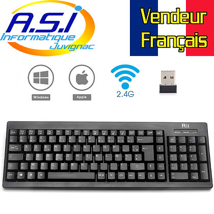 clavier  AZERTY sans fil pour PC et MAC Smart TV, Android TV Raspberry Kodi