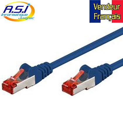 Câble rj45 cat6 bleu 15m ethernet réseau VENDEUR FRANÇAIS