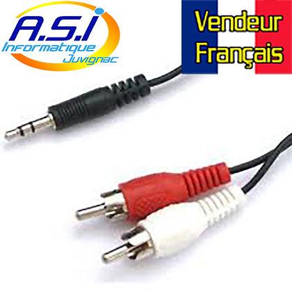 Câble RCA cinch Mini-Jack 3m VENDEUR FRANÇAIS
