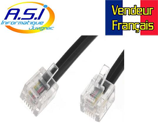 Câble Téléphone RJ11 pour téléphonie box ADSL Modem 5m VENDEUR FRANÇAIS