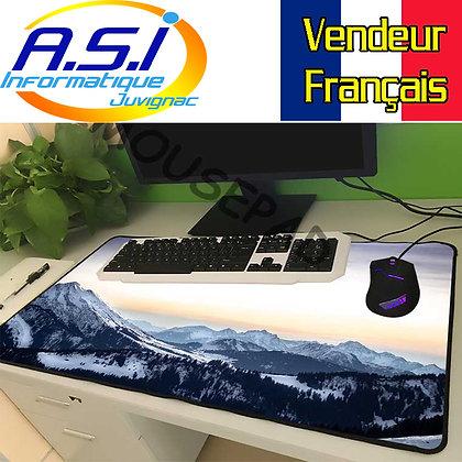 Grand Tapis de souris Gaming Paysage Montage Ski Neige  XL VENDEUR FRANCAIS