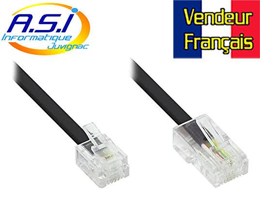 Câble Téléphone RJ11 RJ45 pour téléphonie box ADSL Modem 3m VENDEUR FRANÇAIS