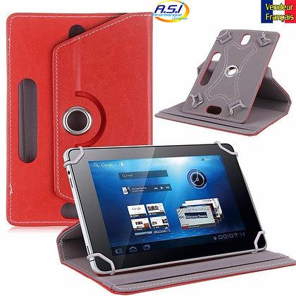Coque Etui universel Housse universelle tablette 10 pouces Effet cuir Rouge