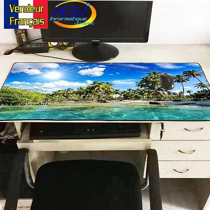 Grand Tapis de souris Gaming gamer XL Paysage Ile Mer Océan Cocotier Palmier