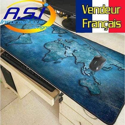 Grand Tapis de souris Gaming table carte Map monde Gamer bleu XL VENDEUR FR