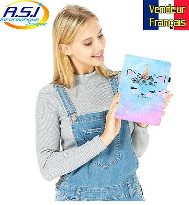 Coque Etui Housse universelle tablette 10 pouces Chat licorne Bleu Rose
