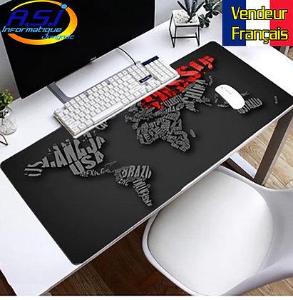 Grand Tapis de souris xl Gamer ordinateur Gaming Map Carte Monde rouge noir gris