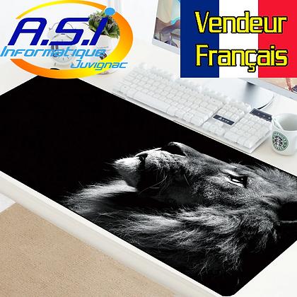 Tapis de souris Gaming Lion Noir et Blanc Gamer XL Grand format VENDEUR FRANÇAIS