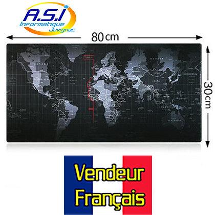 Tapis de souris Carte du Monde XXL noir