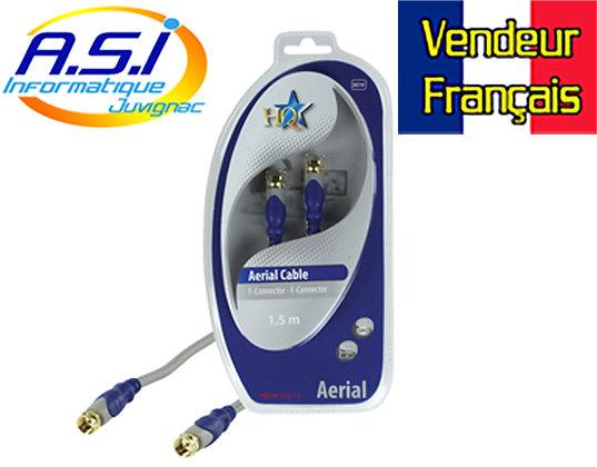 Câble antenne coaxial connecteur or mâle F HQSAE 510 1.5m VENDEUR FRANÇAIS