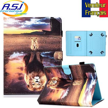 """Coque Etui universel Housse universelle tablette 10"""" pouces Lion Lionceau"""