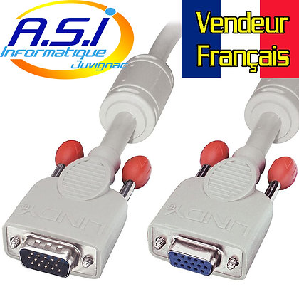 Câble Rallonge VGA 15m pour ordinateur PC VENDEUR FRANÇAIS