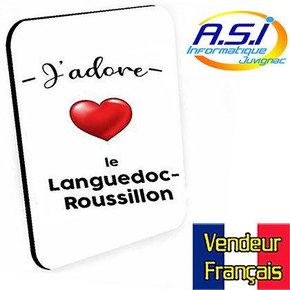 Tapis de souris J'adore le Languedoc Roussillon VENDEUR FRANÇAIS