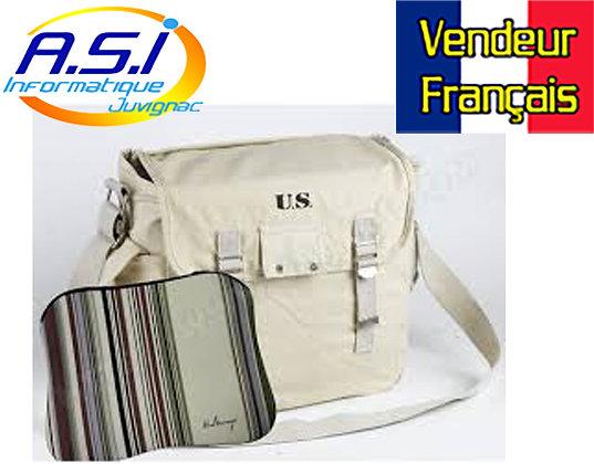 """Sacoche Ordinateur SAC US Beige portable 7 à 13"""" + Housse PC MAC VENDEUR FRA"""
