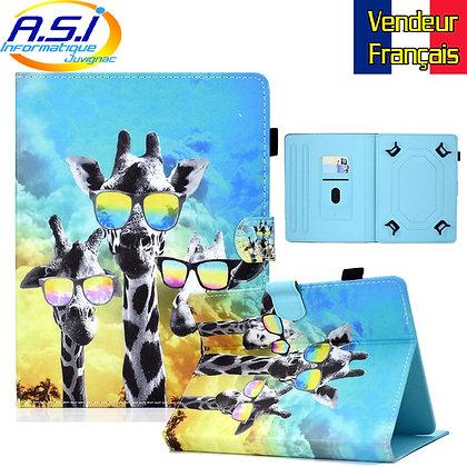"""Coque Etui universel Housse universelle tablette 10"""" pouces 3 Girafes Mult"""