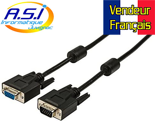 Câble Rallonge Male Femelle VGA 30m pour ordinateur PC VENDEUR FRANÇAIS