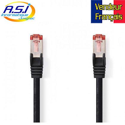 Câble rj45 cat6 noir 15m ethernet réseau VENDEUR FRANÇAIS