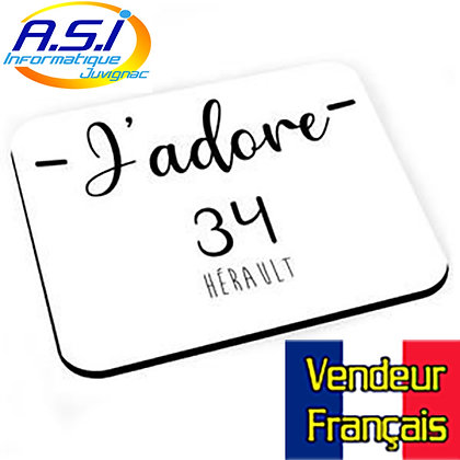 Tapis de souris J'adore 34 Hérault VENDEUR FRANÇAIS