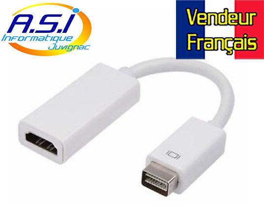 Câble convertisseur adaptateur mini-DVI vers HDMI femelle pour iMac MacBook
