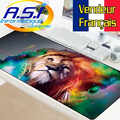 Tapis de souris Gaming Lion Multicolore Gamer XL Grand format VENDEUR FRANÇAIS