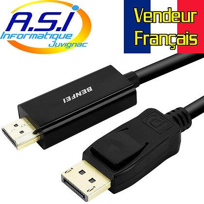 Cable DisplayPort vers HDMI Adaptateur  3 m VENDEUR FRANCAIS