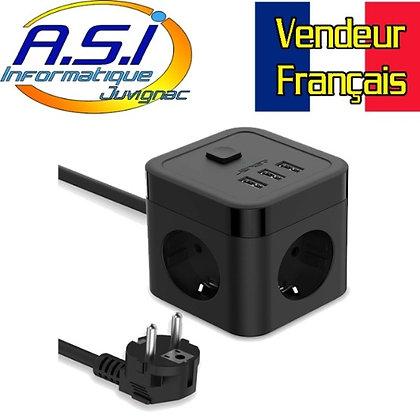 Cube Multiprise 3 Prises + 3 Ports USB parafoudre (5V3,1A/15,5W)