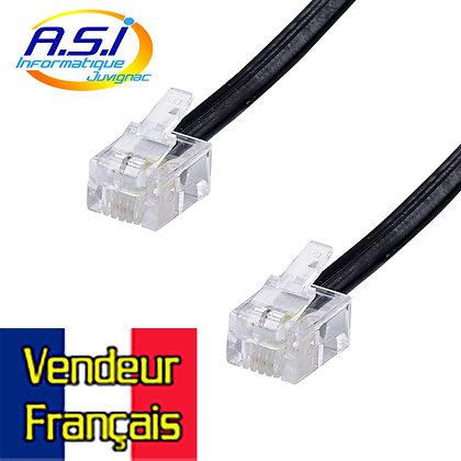 Câble RJ11 15 m pour relier la box la ligne téléphonique VENDEUR FRANÇAIS
