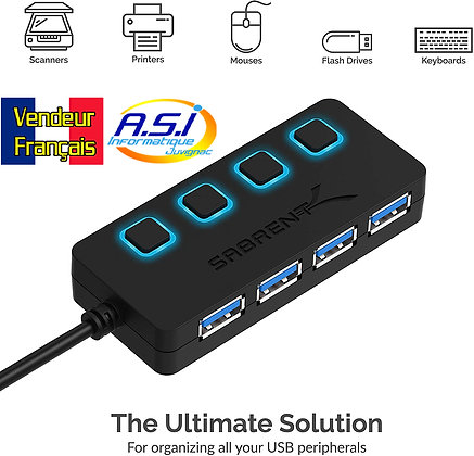 Hub USB-3/ switch USB / splitter USB 4 ports vers USB 3 avec interrupteur