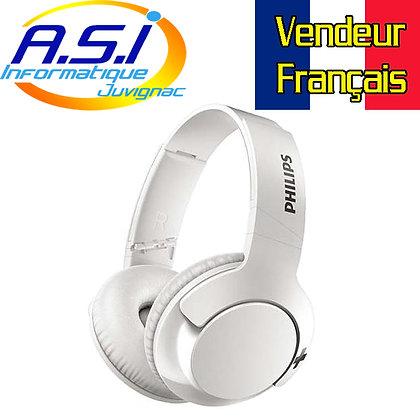 Casque Bluetooth Philips bass + pliable blanc