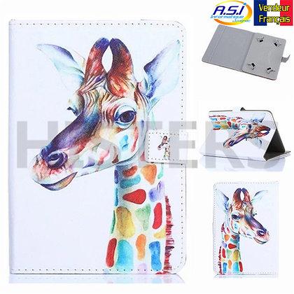 "Coque Etui universel Housse universelle tablette 10"" pouces Girafe Multicolore"