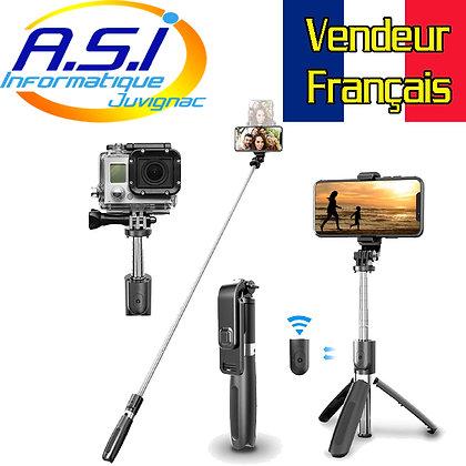 Perche à Selfie Bluetooth Télescopique, Trépied pour Smartphone +Télécommande