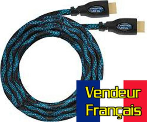 Cable HDMI 15m tressé 4k pour TV, PS4 Xbox etc bleu et noir Or VENDEUR FRANÇAIS