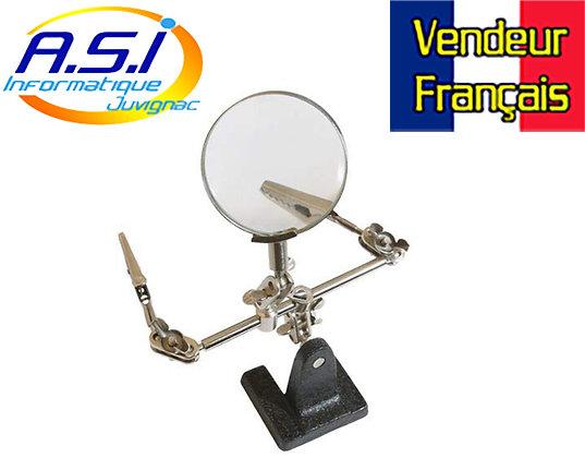 Loupe + Pince Support pour travailler Electronique soudure VENDEUR FRANÇAIS