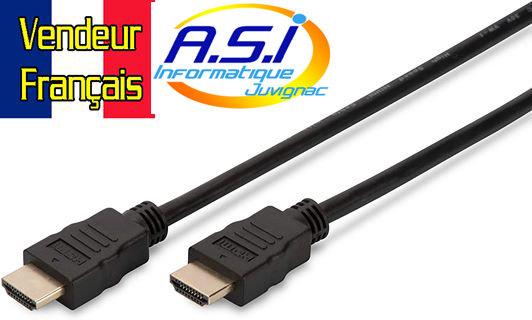 Cable HDMI Type A Ultra HD 60p, HDMI 1m VENDEUR FRANÇAISAIS