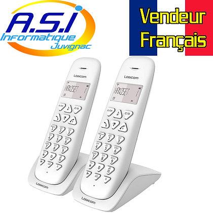 Téléphone duo sans fil pour ligne fixe et box adsl ou fibre Logicom blanc