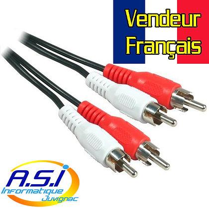 Câble audio RCA Cinch Male mâle 3m VENDEUR FRANÇAIS