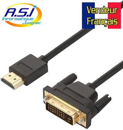 Câble HDMI vers DVI Câble HDMI HDTV vers DVI (Noir) 1.5m VENDEUR FRANÇAIS