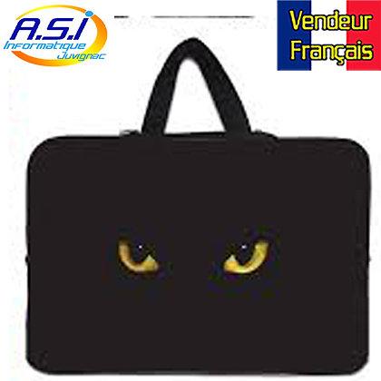 """Housse chat noir ordinateur PC portable Apple Mac MacBook 15"""" VENDEUR FRANÇAIS"""