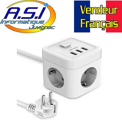 Copie de Cube Multiprise 3 Prises + 3 Ports USB parafoudre (5V3,1A/15,5W)