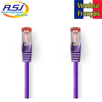 Câble rj45 cat6 violet 15m ethernet réseau VENDEUR FRANÇAIS