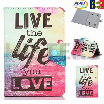 "Coque universel Housse universelle tablette 10"" pouces Live Life Love rose"