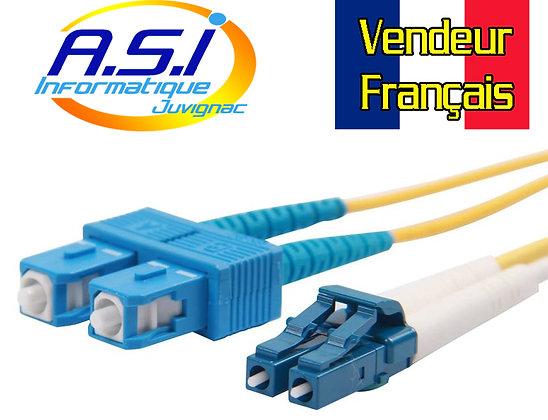 Câble Fibre Optique SC LC 1m, 9/125 Monomode Duplex Jarretière VENDEUR FRANCAIS
