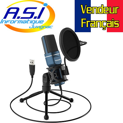 Micro Podcast Streaming USB avec trépied filtre anti-pop pour ordinateur PC