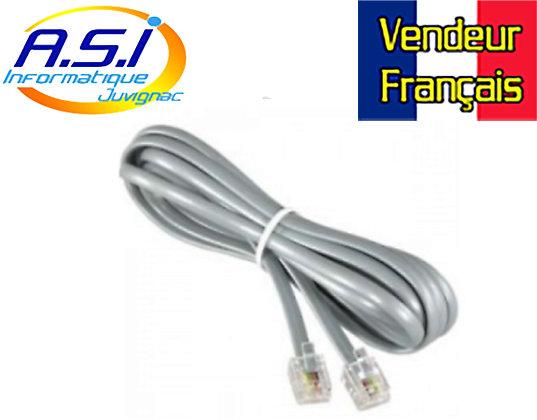 Câble Téléphone RJ11 pour téléphonie box ADSL Modem 1,8m VENDEUR FRANÇAIS