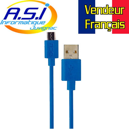 Câble USB / Micro USB 2m DCU Charge et Sync Bleu VENDEUR FRANÇAIS